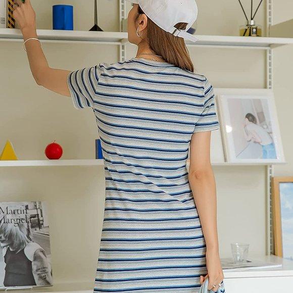 Blue Women's Casual Short Sleeve Striped Bodycon SASD